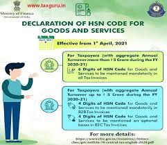 Mandatory HSN/SAC Codes in GST Invoices from 01.04.2021